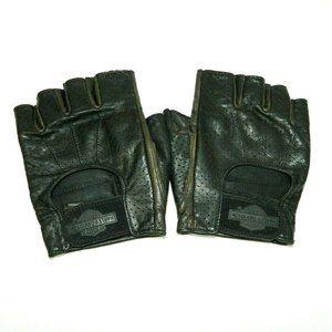 Harley Davidson Leather Fingerless Riding Gloves L